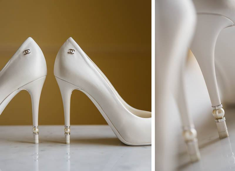 Details of the wedding shoes