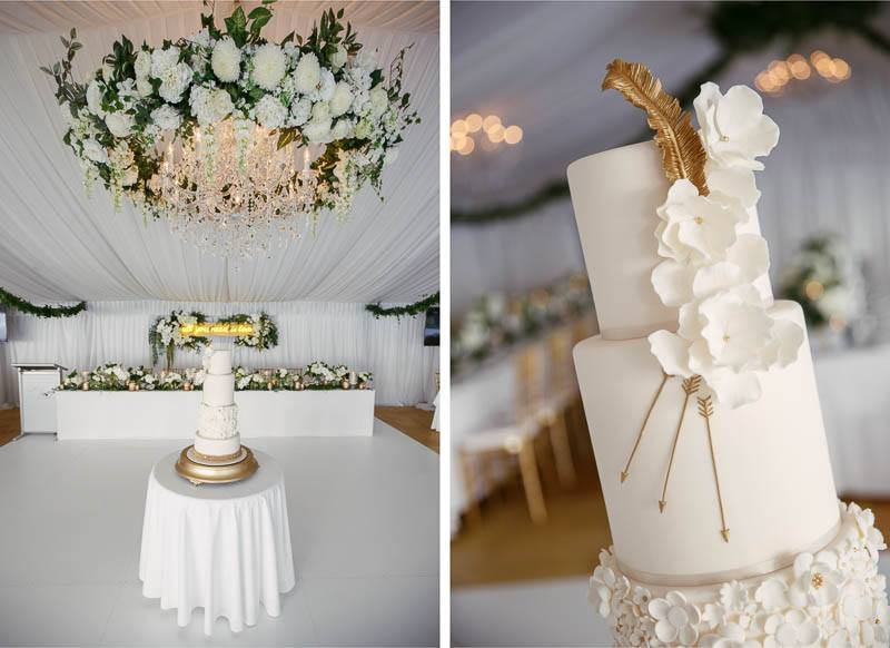 Details of the wedding reception, the cake and flowers
