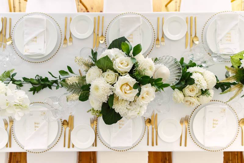 Table setting details of the wedding reception