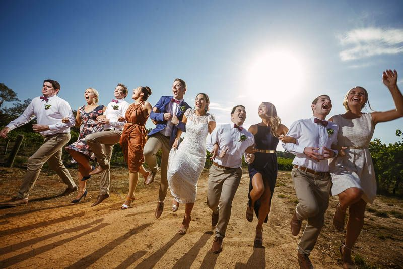 Skipping with the bridal party at the Currant Shed